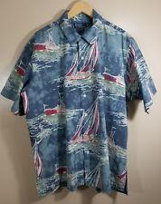 Polo Ralph Lauren Vintage Camp Button Up Short Sleeve Shirt Size XL Sail Boat