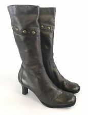 Clarks Size UK5.5 Ladies Bronze Gold Leather Mid Calf Zip Up Studded Heels Boots