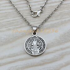 2pcs Saint St Benedict of Nursia Patron Against Evil Medal Pendant necklace