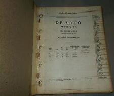 1938 DE SOTO PARTS LIST ORIGINAL MANUAL S5