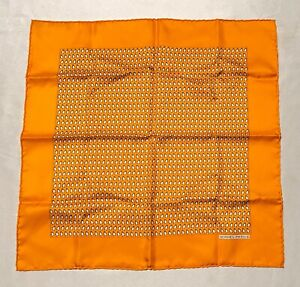 NWOT Hermes Paris Orange Penguin Monogram Men's Pocket Square Scarf 100% Silk