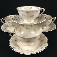 Set of 4 VTG Cups and Saucers Syracuse China Suzanne Federal Shape Floral USA
