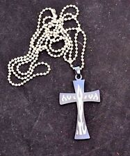 """Stainless Steel Cross pendant With Dark Blue Coating,Flames & 30""""steel Chain"""