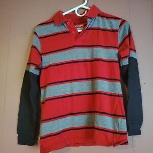 Wrangler Boys Large (10-12) Double Look Black/Gray/Red Polo Shirt