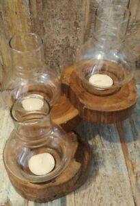 TEAK TEALIGHT HOLDER WITH GLASS LANTERN 3 LEVEL HANDMADE FAIR TRADE 16 x 17cm