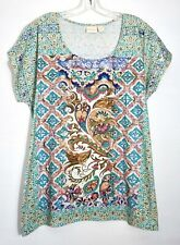 NWT $75 Chico's SS Embellished Celtic Jewels Tee Top, Multi-Color, Sz 1 (M 8/10)