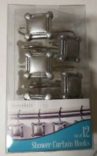 Household Trends Shower Curtain Hooks Silver Squares 12 Count hookover style New