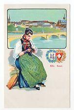 SUISSE SWITZERLAND canton BALE Carte armoiries vue costume