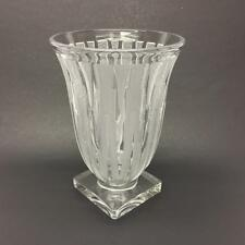 Verlys American Art Glass Clear Frosted Icicle Lance Vase Signed