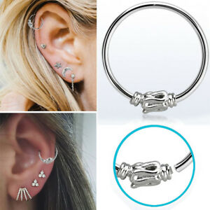 1-4PC Silver Curled Wire Tribal Piercing 22g Nose Ear Lip Clip Illusion Hoop Set