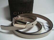 $265 NEW GUCCI Womens 36 IN 90 CM Skinny Cream Leather Belt Logo Plaque Buckle