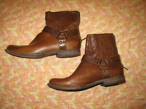 FRYE Smith Engineer Brown Leather Ankle harness BOOTS women's 10