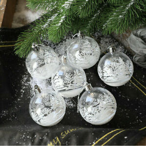 6x Traditional Christmas Baubles Tree Clear Snow Balls Hanging Decoration Party*