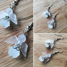 Handmade Clear Frosted Gaurdian Angel Halo Drop/Dangle Earrings Jewellery Gift