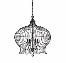 New In Box Savoy House 7-6100-6-17 Pendant Clear Crastals, Forged Black Finish