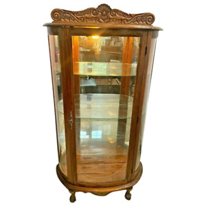 Vintage China Cabinet Curio Lighted Curved glass Mirror three shelves claw feet