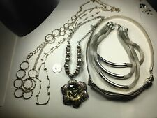 5 Great Vintage Costume Jewelry Silvertone Necklaces,  #15031