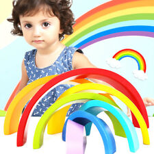 FM- WO_ Wooden Stacking Rainbow Building Block Christmas Gift Kid _GG