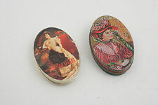 Two Coca Cola Gibson Girl Tins Made in Hong Kong (D5L)