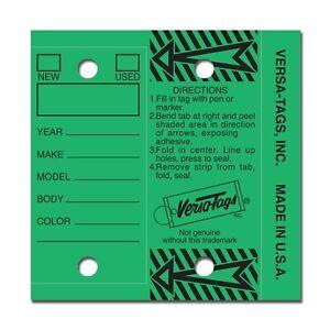 GREEN Genuine Versa-Tag Key Tags, Self-Protecting 250 tags per box
