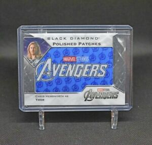 2021 Upper Deck Marvel Black Diamond Polished Patches Avengers Logo Thor /49 🔥