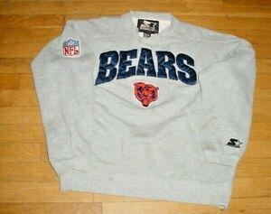 Vintage NFL Chicago Bears Football Sideline Sweatshirt By Starter Gray Sewn-On S