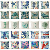 18'' Ocean Sea Animals Cotton Linen Throw Pillow Case Cushion Cover Home Decor