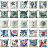18'' Ocean Sea Animals Cotton Linen Throw Pillow Case Cushion Cover Home Decor