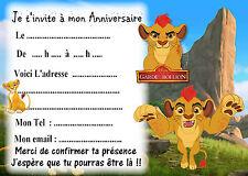 5 cartes invitations anniversaire La Garde du Roi Lion 02