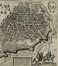 Antwerp Belgium 1585 city view military fortifications engraved map print