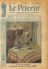 Portrait Roi Albert Ier de Belgique Table Travail Palais WWI 1918 ILLUSTRATION