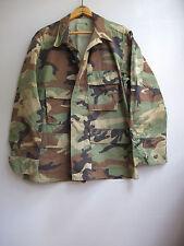 Vintage Camo Army Jacket Shirt Camouflage USA Military Bdu Short Medium
