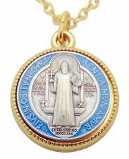 "St Benedict Two-Tone with Enamel 1"" Saint Medal + Chain Boxed from Italy"