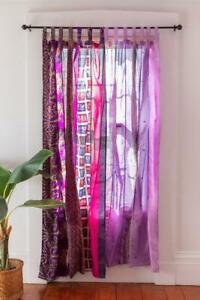 Indian Sari Patchwork Curtain Drape Window Decor Silk Sari Pink Color Curtain