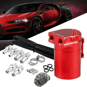 Oil Catch Can Tank Baffled Reservoir Breather With Fittings Aluminum Red