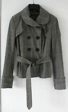 Long Sleeved TOP SHOP Tweed Style Jacket Buckle Belt 8 Buttons Size 10UK