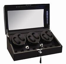 NEW Diplomat Black Automatic 6 Watch Winder Box / w LED lights