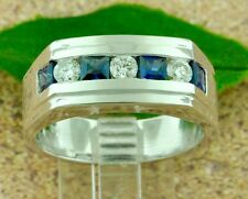 1.38ct 14k Solid White Gold Men's Natural Diamond Blue Sapphire Ring Channel set