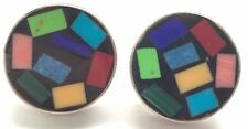 Taxco Mexico Sterling Silver Abstract Multi Color Onyx Coral Inlay Post Earrings