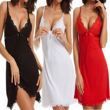 Sexy Women Lace Chemise Lingerie Ladies Babydoll Nightdress Low V Nightwear UK