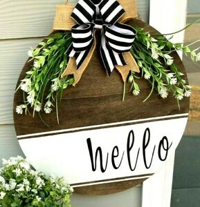 Front Door Decor Hello Hanger Wood Round Wreath Farmhouse Gift Flower Bow