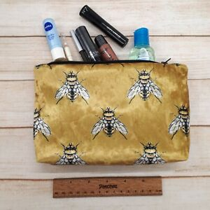Bumble Bee Make Up Bag  Crushed Gold Velvet Velour Pouch Handmade Lined Purse