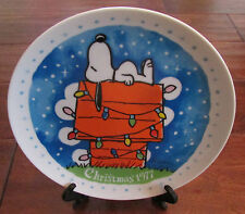 Vtg Snoopy Christmas 1977 Plate Schmid Peanuts Family Collector Series w/ Box