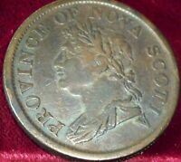 1824 NOVA SCOTIA , CANADA one penny TOKEN . BRETON # 868 , NS-2A4 .