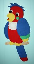 "Playgro PARROT Bird Padded Fabric Wall Hanging 40"" Baby Child Room Vintage '80s"