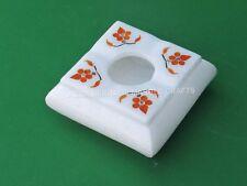 "4"" Decorative Handmade Marble White Ashtray Hakik Inlay Design Patio Decor E730"