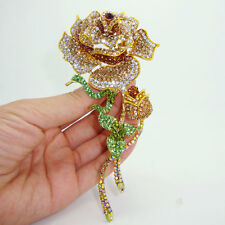HUGE 5,31'' RUNWAY CHAMPAGNE BROWN FLOWER BROOCH MADE WITH SWAROVSKI CRYSTALS