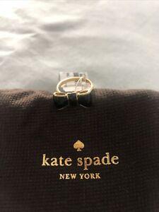 Kate Spade Black Enamel Bow Ring Size 6