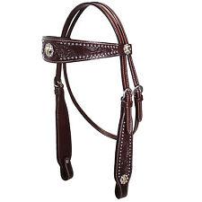 Tahoe Buckaroo Classic USA Leather Headstall- Choose Conchos & Color- Full Horse