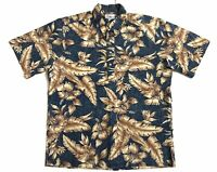 Reyn Spooner Blue Floral Hibiscus Large 4-Button Pullover Hawaiian Shirt Aloha